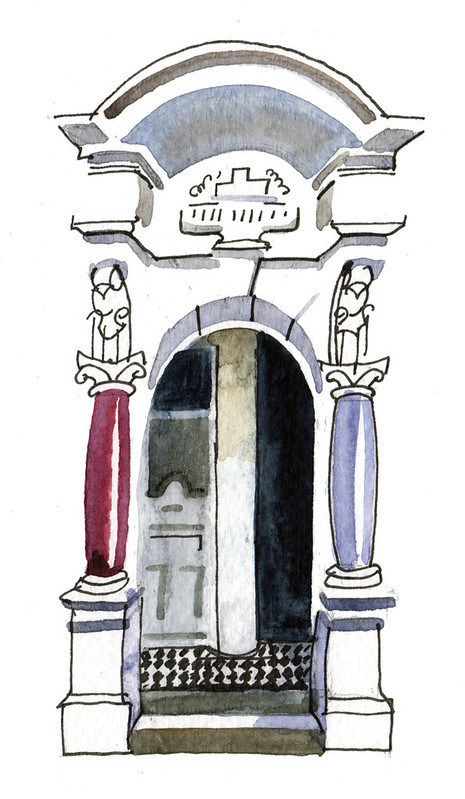 Ink and watercolour sketch of a recessed doorway with an arch above and rounded pillars to left and right.