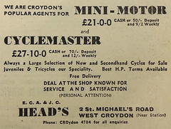 "A black-and-white text-only advert for ""E. C. A. & J. C. Head's"" at 2 St Michael's Road, West Croydon, headed ""We are Croydon's popular agents for Mini-Motor [...] and Cyclemaster""."